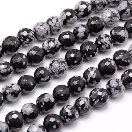 Snieginio Obsidiano karoliukų gija 10-11 mm