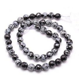 Snow Obsidian beads strand 10-11 mm