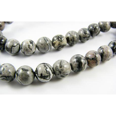 Stone beads grey - black mottled, round shape 8 mm
