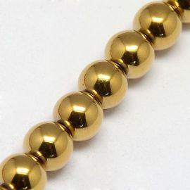 Synthetic Hematite beads strand 6 mm