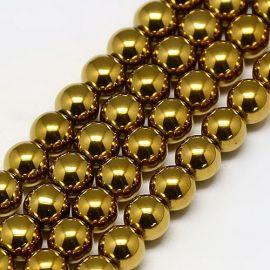 Синтетическая бусина Гематит, цвет золото, размер 6 мм
