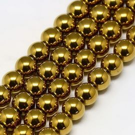 Synthetic Hematite bead thread, gold color, size 6 mm