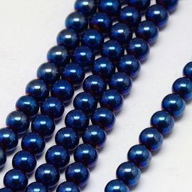 Synthetic Hematite bead thread, purple, size 6 mm