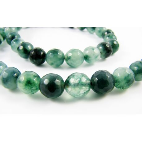 Emeraldo karoliukai žalios spalvos margi briaunuoti apvalios formos 8 mm