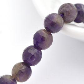 Natūralaus Ametisto karoliukų gija, violetinės spalvos, dydis 6 mm