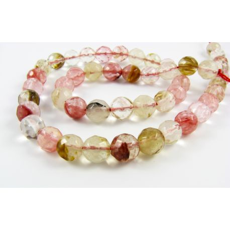 Turmalin quartz beads pink-white clear faceted round shape 8 mm