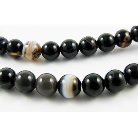 Agato karoliukai juodos spalvos su baltomis - rudomis juostelėmis apvalios formos 6 mm