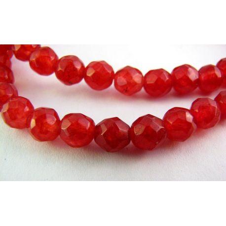 Rubino karoliukai raudonos spalvos briaunuoti apvalios formos 6mm