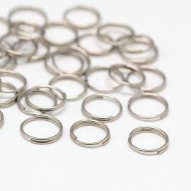 Nerūdijančio plieno dvigubi žiedeliai 8 mm, 10 vnt.