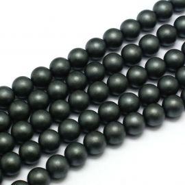 Synthetic Hematite bead thread, gray, size 6 mm