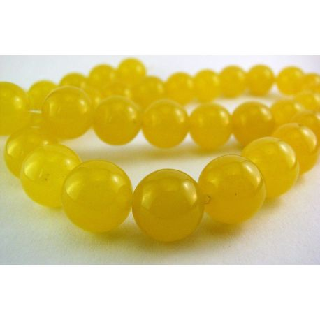 Topazo karoliukai geltonos spalvos apvalios formos 10mm
