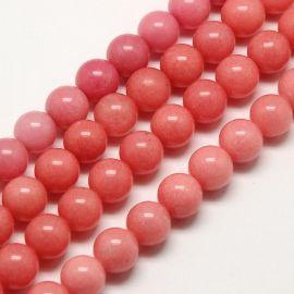 Nefrito karoliukų gija rausvos spalvos, apvalios formos 8 mm