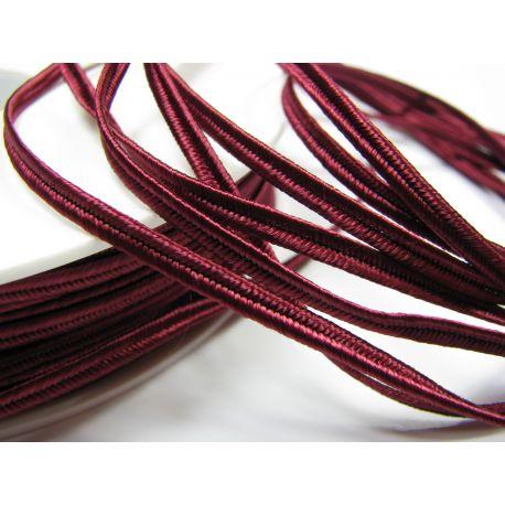 Сутажная полоска Pega A8552 темно-вишневый (бордовый) цвет шириной 3 мм 100% вискоза Страна производитель Чехия