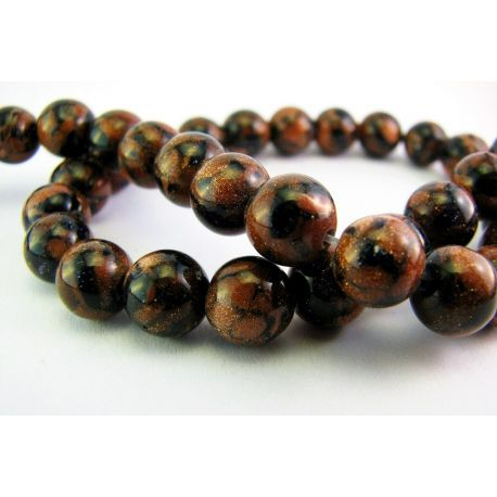 Sun stone and left night beads blend brown - dark blue glossy round shape 8mm