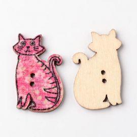 """Деревянная сага """"Кот"""", 2 дырочки, размер 30 мм, 1 шт."""