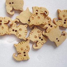 "Wooden saga ""Kitten"", gelvos, 2 holes, 16x15 mm, 1 pcs."