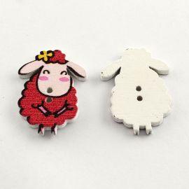 "Wooden saga ""Sheep"", 2 holes, size 28x20 mm, 1 pcs."