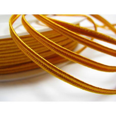 Sutažo juostelė Pega A7301 ryškiai geltonos spalvos su oranžiniu atspalviu 3 mm pločio 100% viskozė Kilmės šalis Čekija