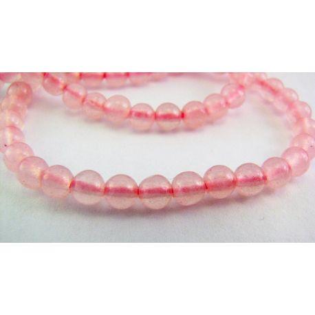 Rožinio kvarco karoliukai rausvos spalvos skaidrūs apvalios formos 4mm