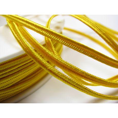 Сутажная полоска Pega A4202 ярко-желтая шириной 3 мм 100% вискоза Страна производитель Чехия