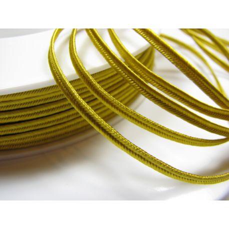 Сутажная полоска Pega A4203 желтого с коричневым цветом шириной 3 мм 100% вискоза Страна производитель Чехия