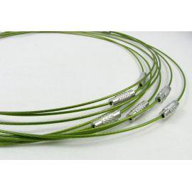 Заготовка кабеля для колье, зеленая, 1,00 мм, длина 444 мм