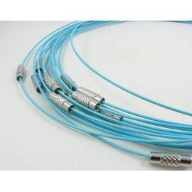 Заготовка кабеля для колье, ярко-синий цвет, 1.00 мм, 444 мм