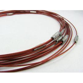 Заготовка кабеля для колье, красный цвет, 1.00 мм, 444 мм