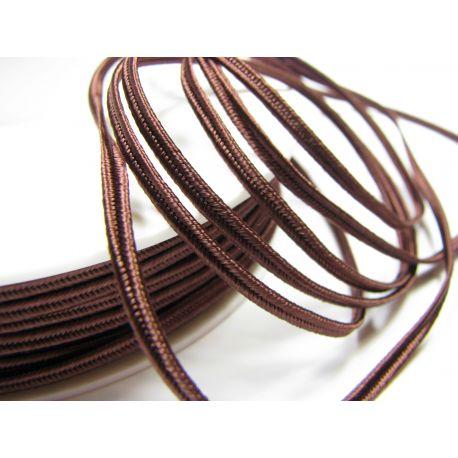 Сутажная полоска Pega A7502 коричневая с красным отливом шириной 3 мм 100% вискоза Страна производитель Чехия