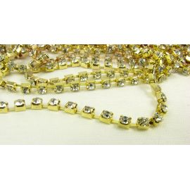 Brass chain with rhinestones 2.8 mm, 50 cm