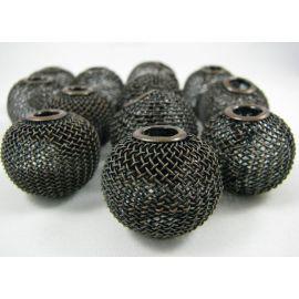 Бусины металлические, цвет темная медь, 25х22 мм, 1 шт.