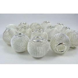 Metaliniai karoliukai, sidabro spalvos, 20x17 mm, 1 vnt.