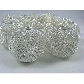 Бусины металлические, цвет серебро, 30х25 мм, 1 шт.