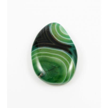 Agato pakabukas žalios, juodos spalvos margas netaisyklingos lašo formos