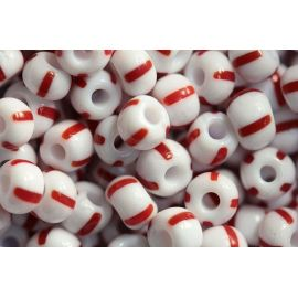 Preciosa Seed Beads (03890-6) white with red streaks 50 g