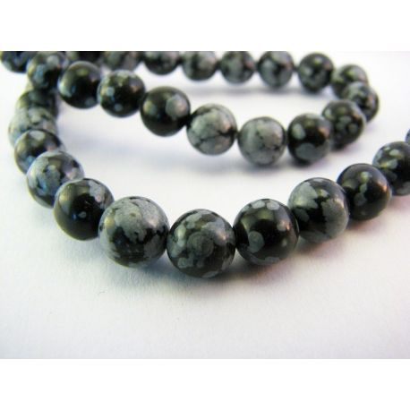 Snow obsidian necklace black - gray round shape 6mm
