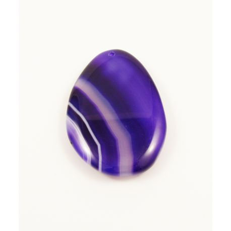 Agate pendant in purple variegated drop shape