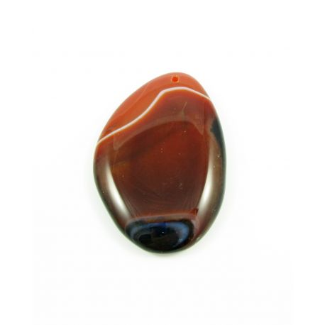 Agate pendant brown - orange variegated drop shape