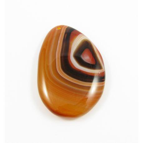 Agato akmeninis pakabukas oranžinės spalvos margas netaisyklingos lašo formos