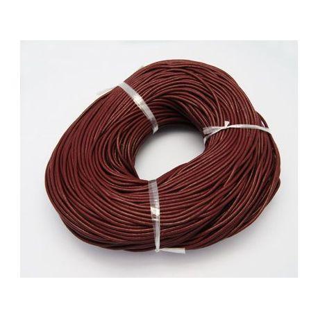 Natūralios odos virvelė, tamsios rudos spalvos, storis apie 1.50 mm