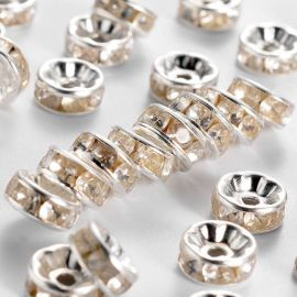 Spacer with rhinestones 8 mm, 6 units.