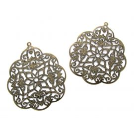 Openwork plate, send. bronze, drop shape, 58 mm