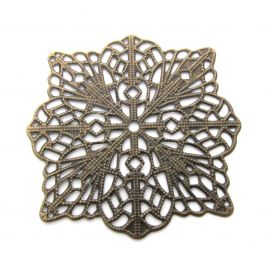 Openwork plate, send. bronze, square, 49 mm