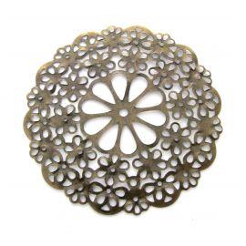 Ažūrinė plokštelė, send. bronzinės spalvos, apvalios formos, 56 mm