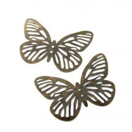 Ažūrinė plokštelė, send. bronzinės spalvos, drugelio formos, 61 mm