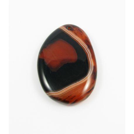 Agato pakabukas rudos - oranžinės spalvos margas lašo formos 60-63x39-40x9 mm