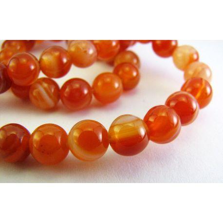 Agato karoliukai oranžinės spalvos apvalios formos 6mm
