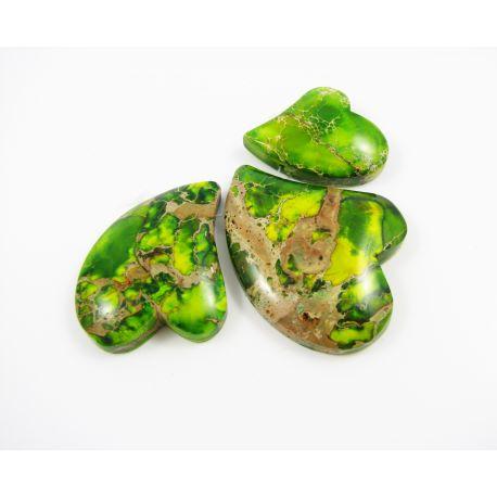 Imperial jaspio pakabukų komplektas žalios spalvos širdelės formos