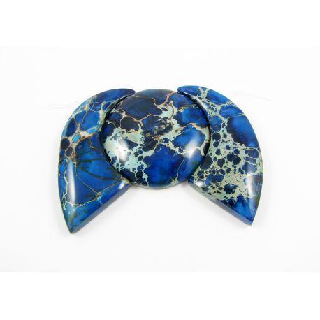 Imperial jaspi pendant set blue 21x49x6 mm, 35x7 mm