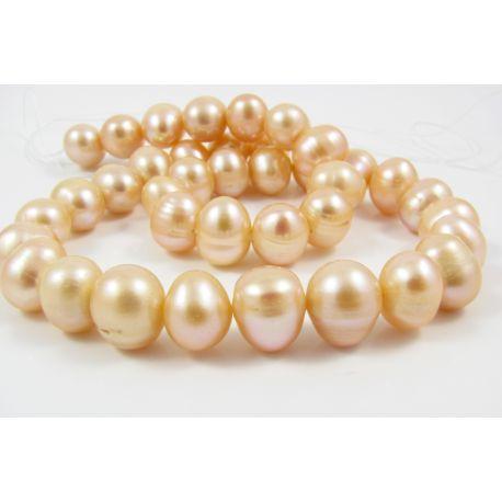 Gėlavandenių perlų gija 35 - 40 vnt rožinės sp. apvalios f. 10-11 mm